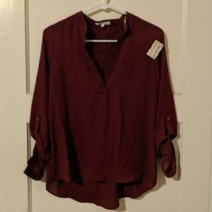 NWT Active Size S Dark Red V-Neck Blouse